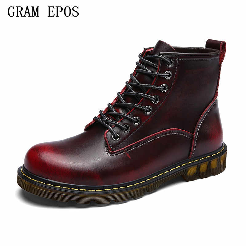 GRAM EPOS New Male Fashion Ankle Boots Winter / Autumn men's Motorcycle Boots men Boots Snow Boots Oxfords Couple Shoes