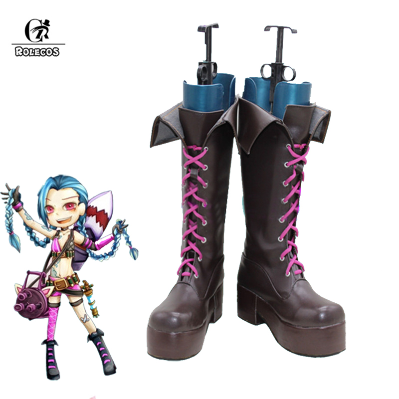 ROLECOS Jinx LOL Cosplay Shoes Jinx Cosplay Game LOL Boots Women Halloween Custom Size Made adult men s tangled flynn rider cosplay boots shoes halloween cosplay prop custom made