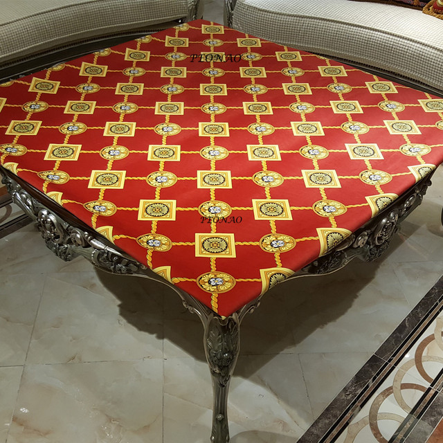 European Luxury Red Table Cloth HD Printed Dinning Decorative Table Covers  150cm Square Velvet Tablecovers