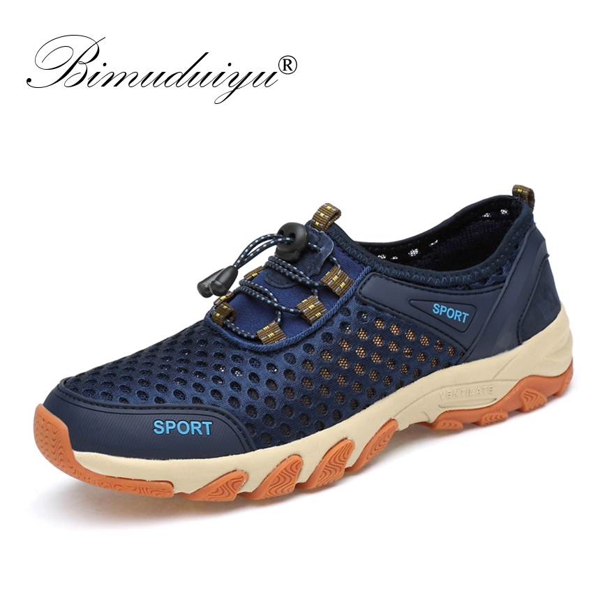 BIMUDUIYU 2019 Men Sneakers Slip On Men Walking Casual Shoes Fashion Breathable Leather Mesh Men Summer