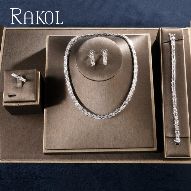 RAKOL New Fashion Wedding Design Luxury Cubic Zirconia Bridal Earring Ring Necklace Jewelry Set For Bride