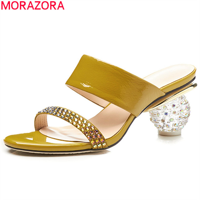 df9ae1d16e8 US $45.24 48% OFF|MORAZORA big size 2018 fashion summer new shoes woman  elegant mules shoes crystal women slippers genuine leather shoes-in  Slippers ...