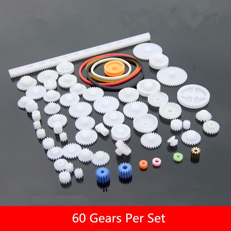60pcs Assorted Kit Plastic Gear Set DIY Rack Pulley Belt Worm Single Double Gears For Robot Motor DIY Tool