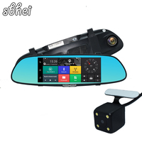New 7 Inch 3G Car Camera DVR GPS Bluetooth Dual Lens Rearview Mirror Video Recorder FHD