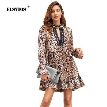 e70ab605e ELSVIOS 2019 nuevo primavera vestido estampado de leopardo de las mujeres  Sexy cuello V profunda manga vestidos de gasa para señora de parche de  encaje de ...