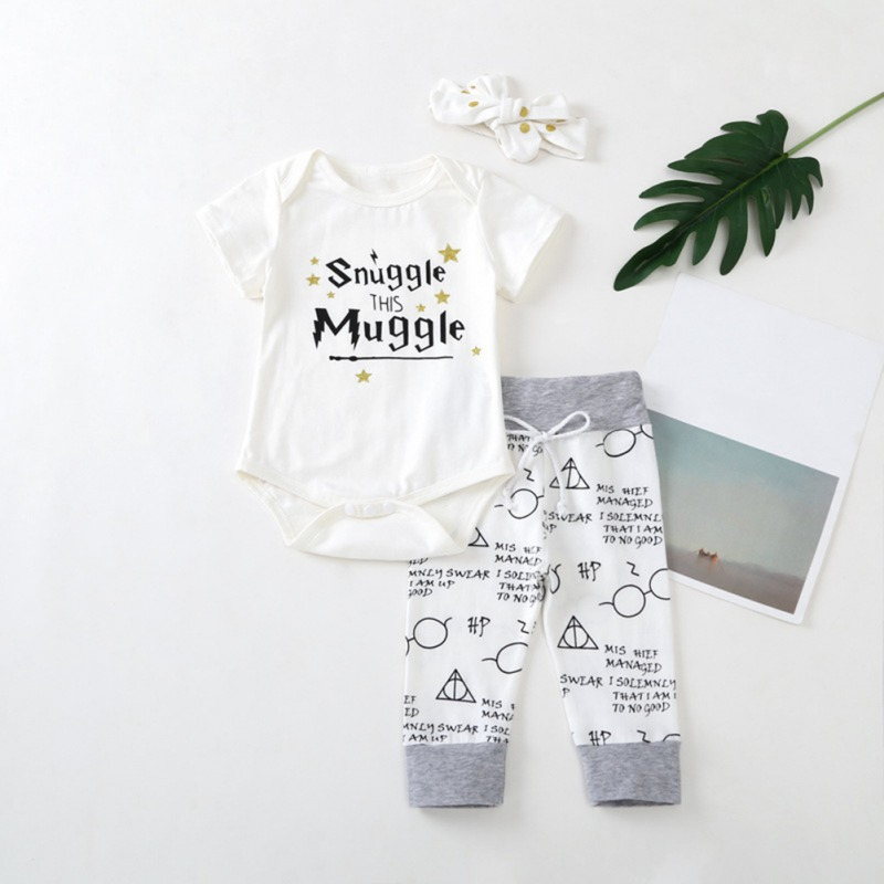 Infant Baby Girls Clothes Sets Boy Letter Romper Jumpsuit Pants Headband Outfits Set Newborn Clothing