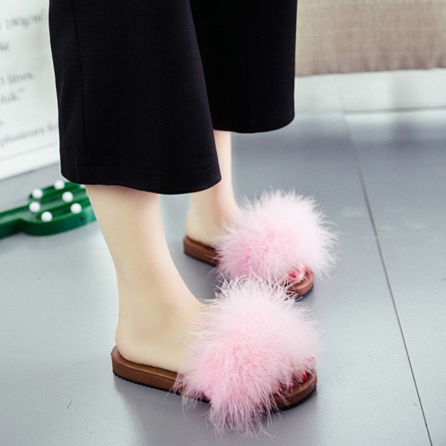 new style 9fed3 5c72e US $14.1 25% OFF Ostrich Hair Slippers Fur Furry Slide Flip Flops Women  Home Slippers Female Sweet Fenty Indoor Soft Comfotable Casual Quality-in  ...