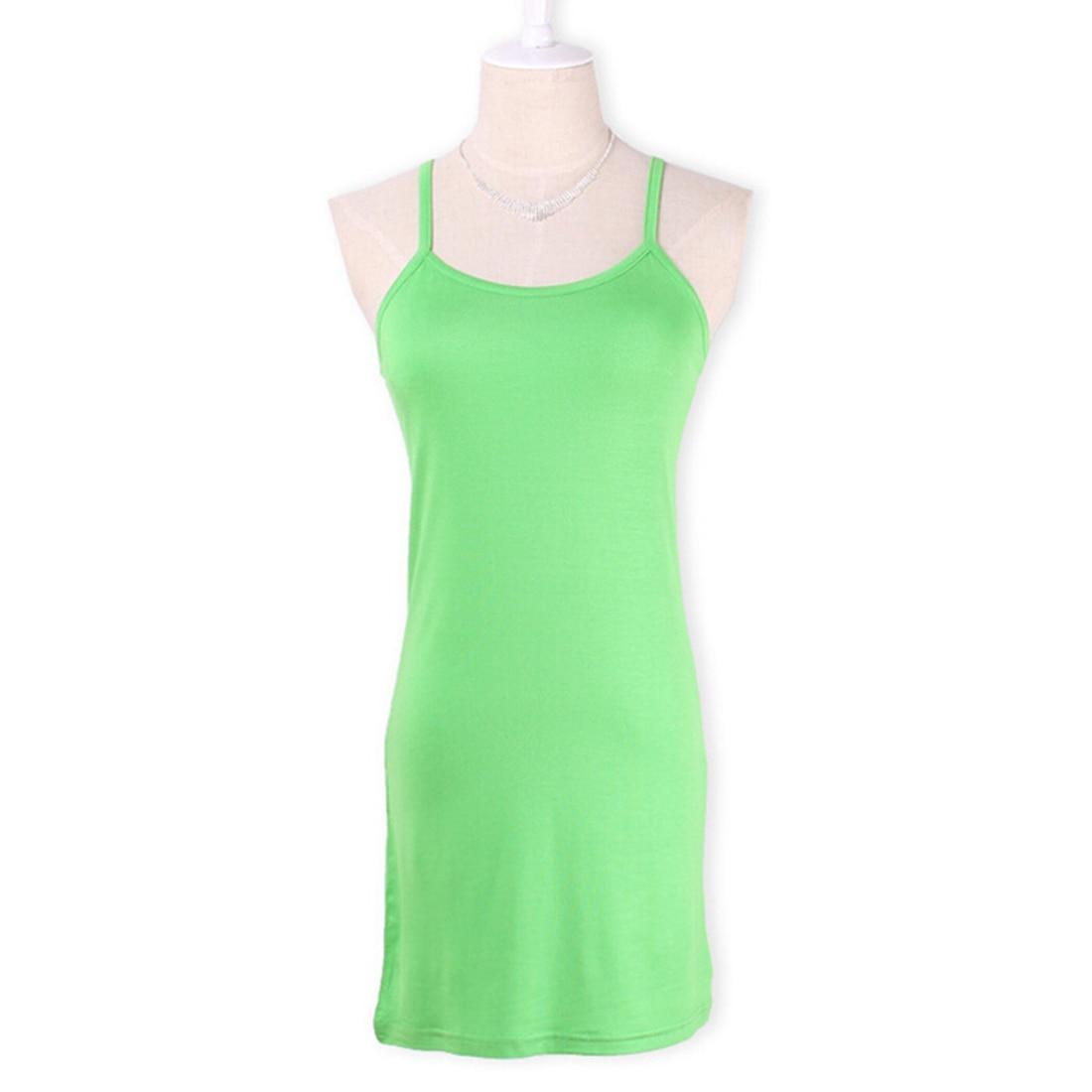 Новинка, Женская эластичная кофточка на бретельках, Длинный топ на бретелях, Мини Короткое платье, летнее повседневное сексуальное платье без рукавов для женщин - Цвет: apple green