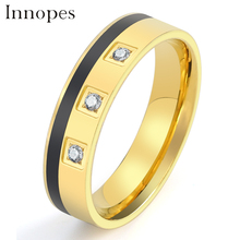 Innopes European and American fashion golden zircon statement ring stainless steel Jewelry black luxury drop oil man