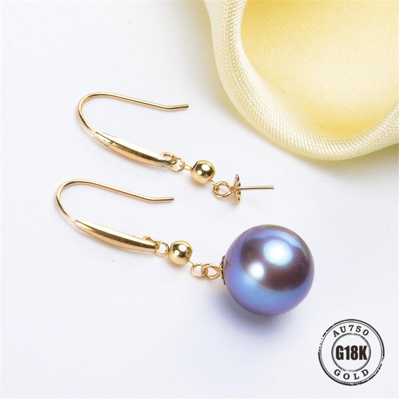 G18K or boucles d'oreilles or perle bijoux, 18 K or oreille crochet pour les femmes mode or boucles d'oreilles perle accessoires