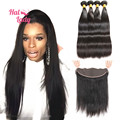 7A Halo Lady Hair Lace Frontal With Hair Bundles 3Pcs or 4Pcs Straight Brazilian Virgin Hair with Full Lace Frontal Closure 13x4