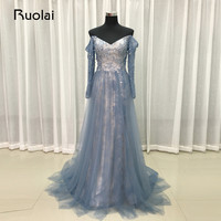 Real Photo Luxury Beads Off The Shoulder Long Sleeves Blue Grey Evening Dresses 2017 Tulle Formal
