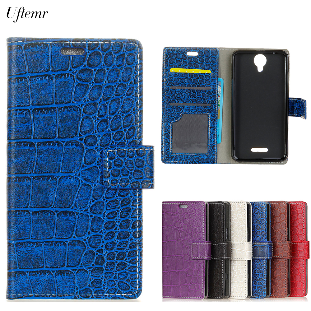 Uftemr Vintage Crocodile PU Leather Cover Protective Silicone Case For Wiko Harry Wallet Card Slot Phone Acessories