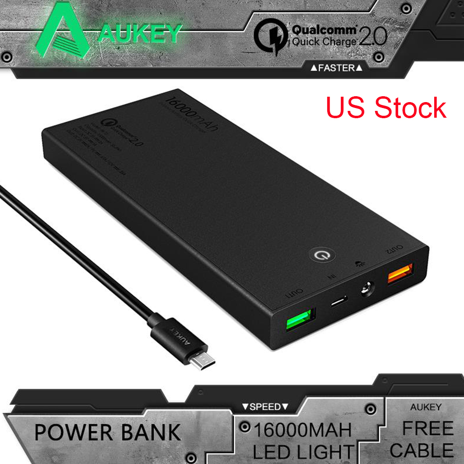 Aukey Portable 16000mAh Quick Charge 2 0 Power Bank Mini External font b Battery b font