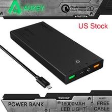 Aukey Portátil 16000 mAh Carga Rápida 2.0 Mini Banco De la Energía Externa batería de 5 V 9 V 12 V Dual Soporte USB Móvil Cargador Rápido EE. UU.