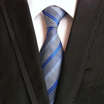 Mantieqingway Striped Neck Ties for Mens Blue & Red 8cm Wide Neckties Wedding Suits Polyester Silk Gravatas Business Corbatas