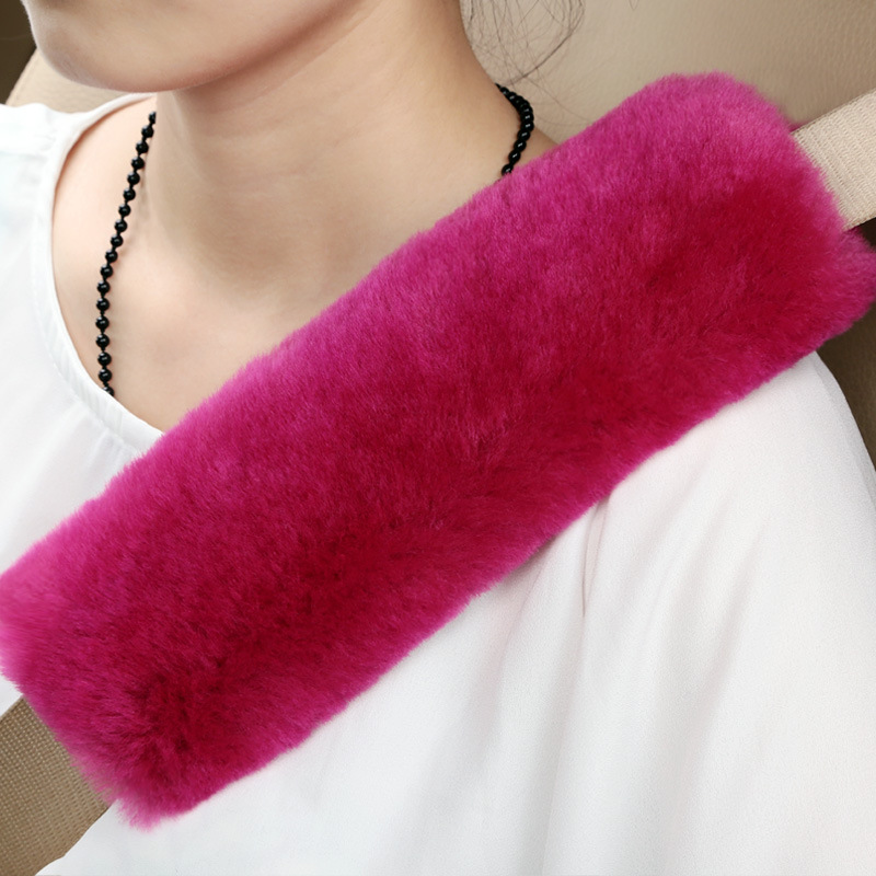 Authentic Sheepskin Auto Seat Belt Cover Shoulder Padding for Adults Youth Kids Car Truck SUV Airplane Neck Protector Red ...