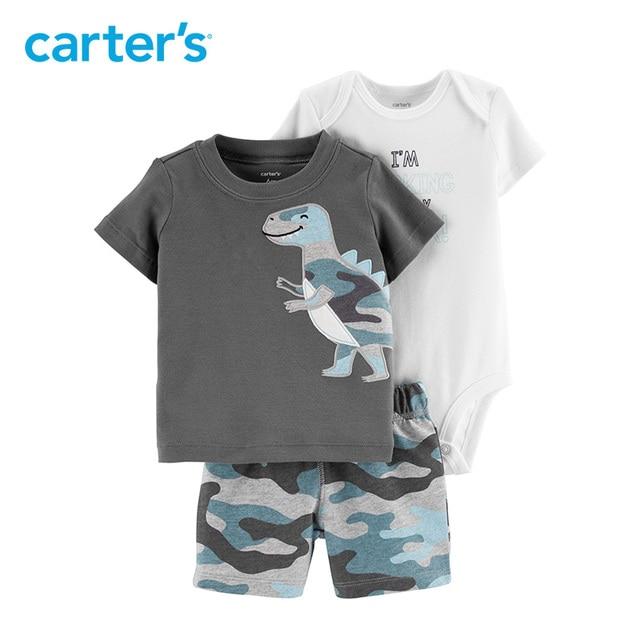 Carters baby boy clothes 3-Piece Dinosaur Little Short short sleeve tee bodysuit  pant baby s set cotton baby clothing 15964410 d6b339342