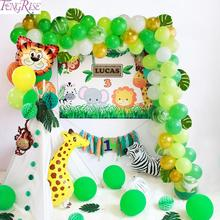 FENGRISE Green Balloon Jungle Party Decorations Safari Decor Animals Birthday Decoration child Baloons