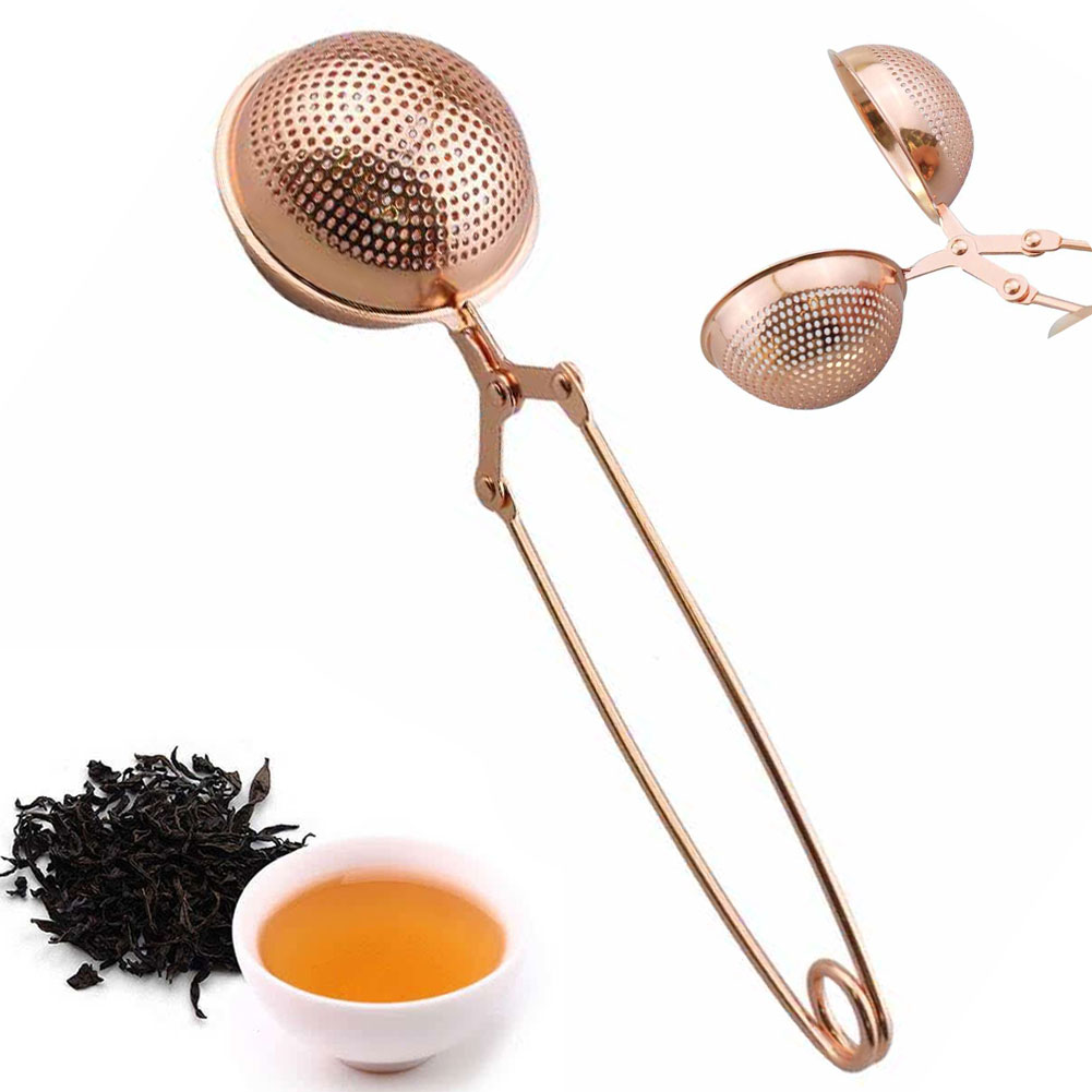 Practical Sphere Stainless Steel Coffee Mesh Tea Infuser Handle Filter Strainer Ball Shape Diffuser Herb Home Spice Rose Gold