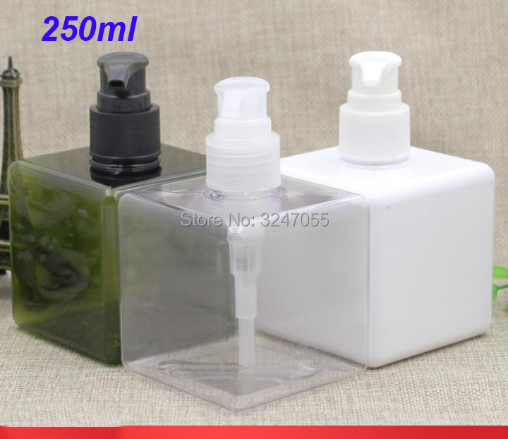 250ML White Plastic Square Shampoo Refillable Bottle,Portable Travel Body Lotion Pump Container,Olive Green Cosmetic TonerBottle цена