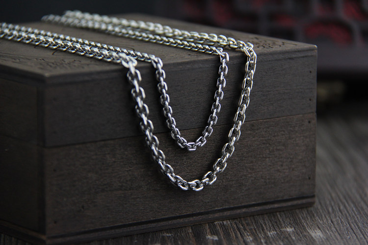 C R Real 925 Sterling Silver Necklace 4 5mm width link chain long sweater chain necklace for women men Thai Silver Fine Jewelry in Necklaces from Jewelry Accessories