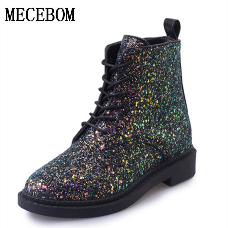 2018 Designers Brand Women Ankle Boots Heels Female Shoes Woman Autumn Glitter Lace up Boots Casual Pink Black White 7072W 2017 autumn fashion boots sequins women shoes lady pu leather white boots bling brand martin boots breathable black lace up pink