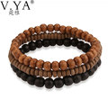 V.YA 17CM Wood Bead Bracelets for Men Women Jewelry Red Black Brown Color Charm Bracelet