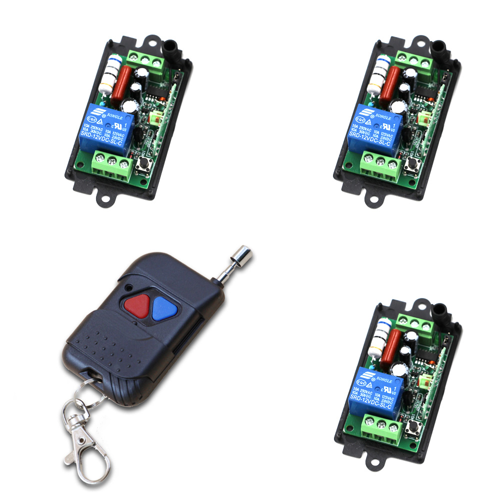 Wireless Remote Control Light Switch AC 220V 110V Relay Module 3 Receivers + Transmitter Momenrary Toggle Latched 315Mhz ac 250v 20a normal close 60c temperature control switch bimetal thermostat