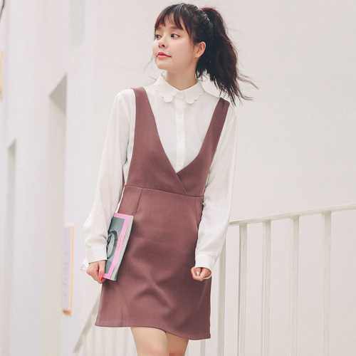 05e60f6586 Strap Dress Women Spring 2019 New Chic Korean Style Vintage V Neck  Sleeveless High Waist A