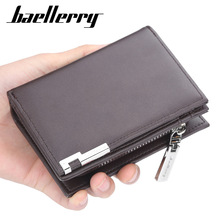 2019 Baellerry Men Short Design Wallets Zipper Card Holder Business Leather Purse Solid Coin Pocket High Quality Male