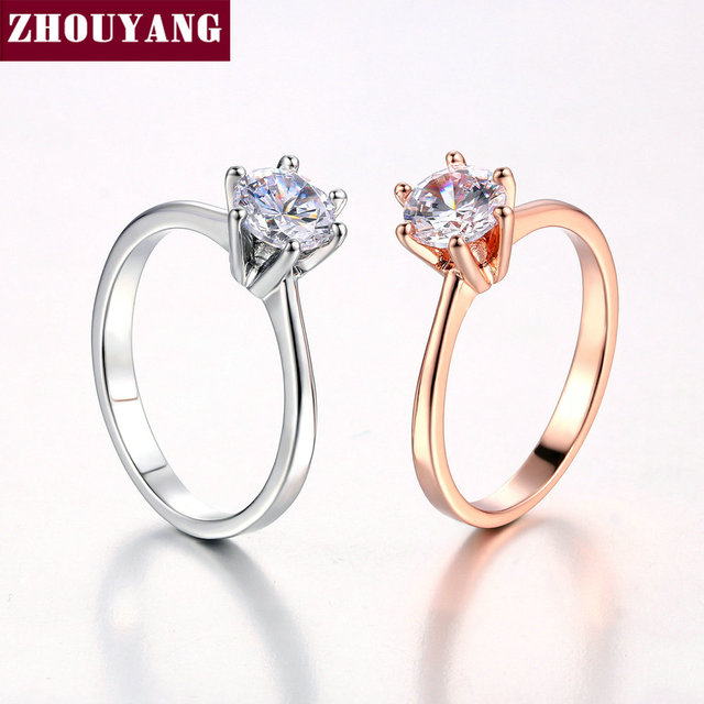 ZHOUYANG Wedding Ring For Women Rose Gold Color Six Claw Cubic Zirconia Round Cut 1 Carat 6mm Fashion Jewelry R013 R014