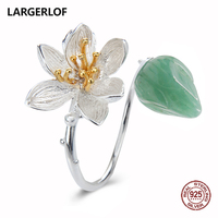 LARGERLOF Ring Silver 925 Women jade Ring Fine Jewelry 925 Silver Jewelry Handmade Rings With Big Stones RG57113