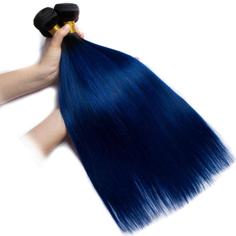ALIBELE Ombre Hair Bundles Brazilian Straight Hair Weave Bundles 1b 27 30 350 99j pink green blue Remy Human Hair Extensions