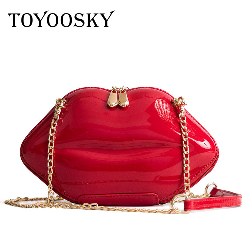 TOYOOSKY 2018 Women Red Lips Clutch Bag High Quality Ladies Pu Leather Chain Shoulder Bag Bolsa Evening Bag Lips Shape Purse 2016 spring new fashion personality lips bag high quality pu leather handbag shoulder bag ladies tote bag bolsa feminina