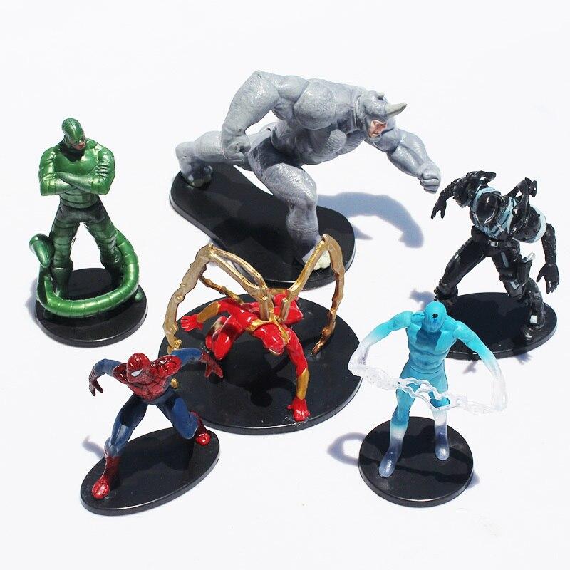 5sets/lot <font><b>The</b></font> <font><b>Amazing</b></font> <font><b>Spider</b></font>-<font><b>Man</b></font> Figures <font><b>Toy</b></font> <font><b>Spider</b></font> <font><b>man</b></font> <font><b>Spiderman</b></font> <font><b>Venom</b></font> <font><b>PVC</b></font> Figure <font><b>Toys</b></font> 6Pcs/set 6-10cm