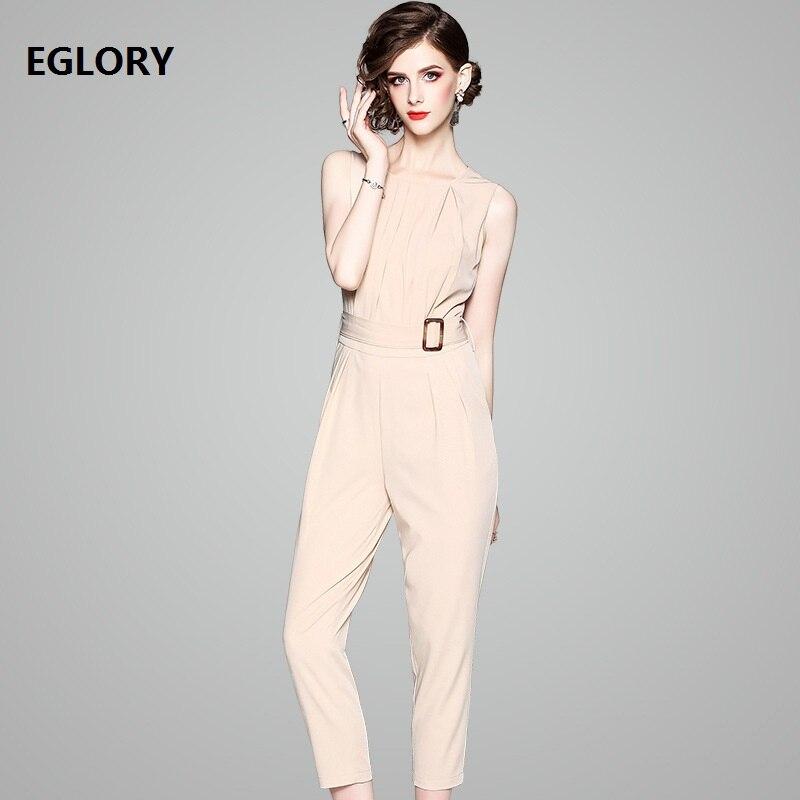 High Quality Office Lady Jumpsuit 2018 Summer Work Women O-Neck Sleeveless Skinny Leggings Calf-Lenght Elegant Jumpsuit Overalls velvet skinny jumpsuit
