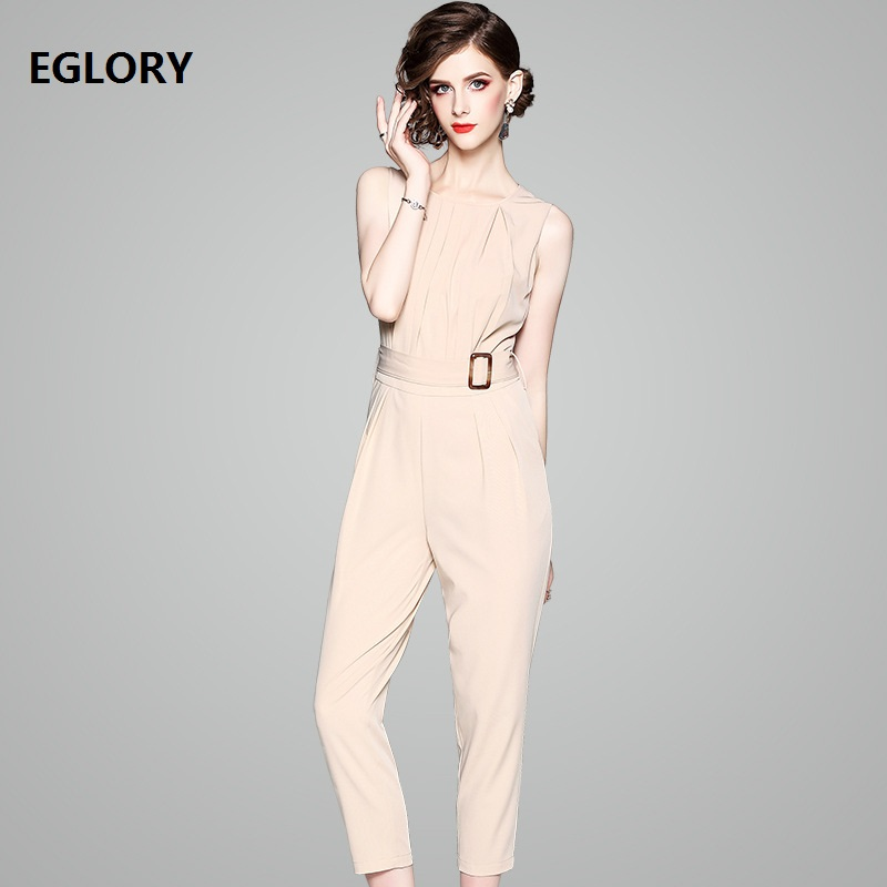 High Quality Office Lady Jumpsuit 2018 Summer Work Women O-Neck Sleeveless Skinny Leggings Calf-Lenght Elegant Jumpsuit Overalls