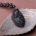 Natural de Obsidiana Pingente de Dragão Tartaruga e Tartaruga Jade Trazer Riqueza e Sorte Para Os Homens Colar de Jóias De Jade
