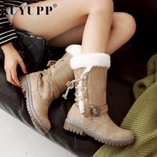 Mid-calf Platform Women Warm Winter Snow Boots Fashion Thicken Winter Square Heel Shoes Ladies Bota Feminina Beige Green KBT1077