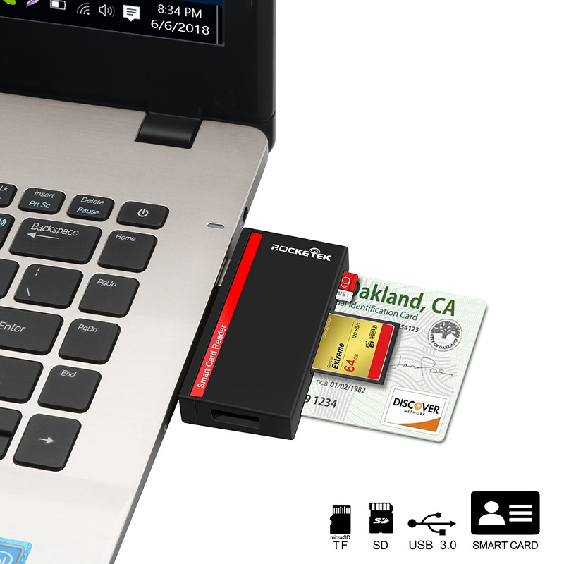 Rocketek USB 3.0 multi Smart Card Reader SD/TF micro SD memory ,ID,Bank card,sim cloner connector adapter computer pc