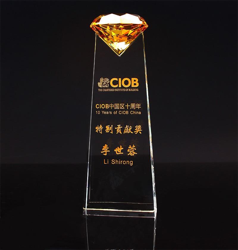 Eventos Deportivos trofeos de cristal y premios personalizados diamante baloncesto fútbol Golf tenis Logo Copa trofeo Souvenirs-in Estatuas y esculturas from Hogar y Mascotas    1