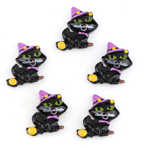 10pcs Black Cat With Hat Resin Halloween Flatback Cabochon  Miniature Art Supply Decoration Charm Craft