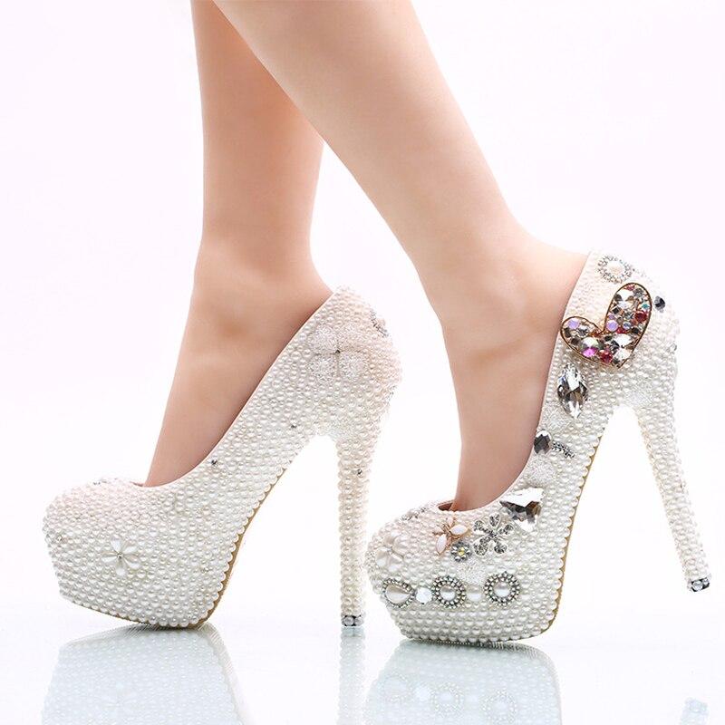 02b8ab43c1ccb 14cm D'honneur Heels White Pompes forme Talons Blanc Plate Forme white  Coeur 11cm 8cm Robe Hauts Cristal De Mariage Femmes Chaussures Mariée Main  ...