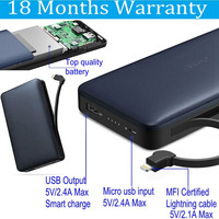 Ugreen 20000mah Power Bank MFI 20000 Mah Powerbank External Battery With Micro Usb Cable For IPhone