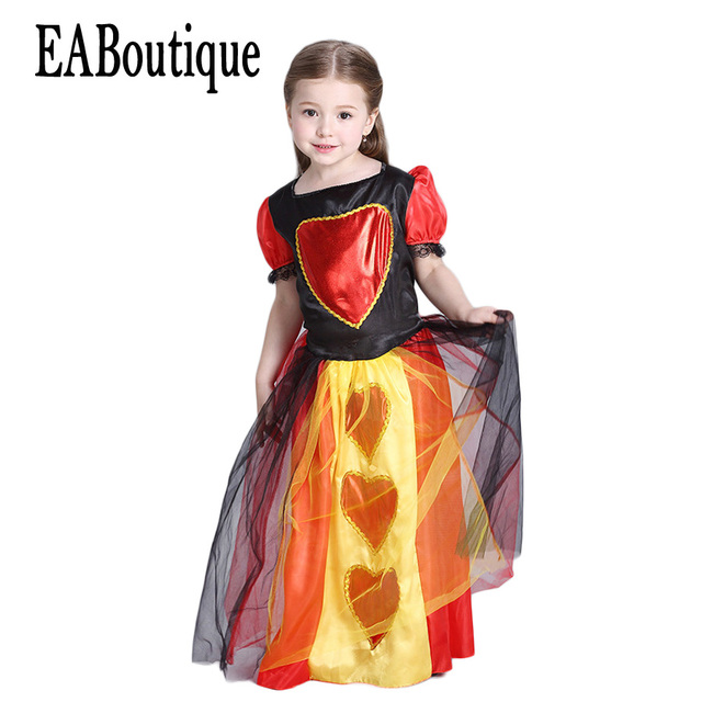 eaboutique 2017 new high quanlity movie queen of hearts halloween costumes for kids girls