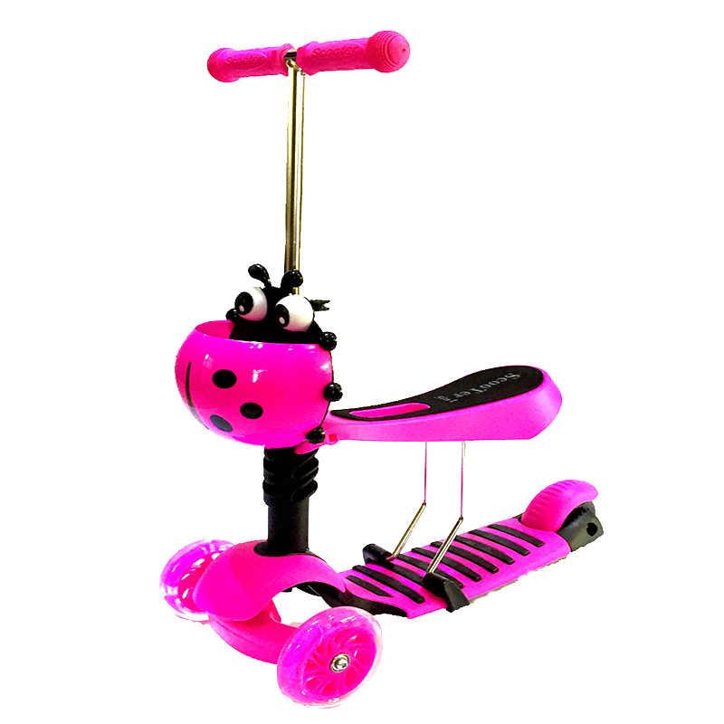 子供スクーター車子供のためのベビーウォーカー多機能子供スクーター 3 で 1 フラッシュ滑りやすい車の屋外のおもちゃ