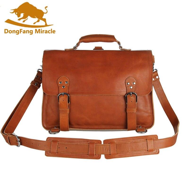 vintage 100% genuine leather business briefcase multifunctional laptop bag Crazy Horse Handmade Shoulder Bag Messenger Bag-in Crossbody Bags from Luggage & Bags    1