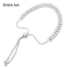 Grace Jun TM 2 Colors Choose Fashion 2 Rows Cubic Zirconia Tennis Bracelet for Women Party