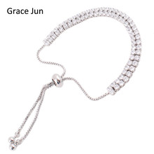Grace Jun(TM)2 Colors Choose Fashion 2 Rows Cubic Zirconia Tennis Bracelet for Women Party Charm Adjustable Bracelet Bijoux Gift